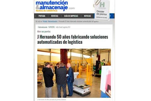 Reportaje 50 Aniversario JHernando en Revista Manutención y Almacenaje