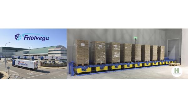 J.Hernando ha fabricado para Friólvega, un sistema de transporte para introducir palets en una cámara de congelación