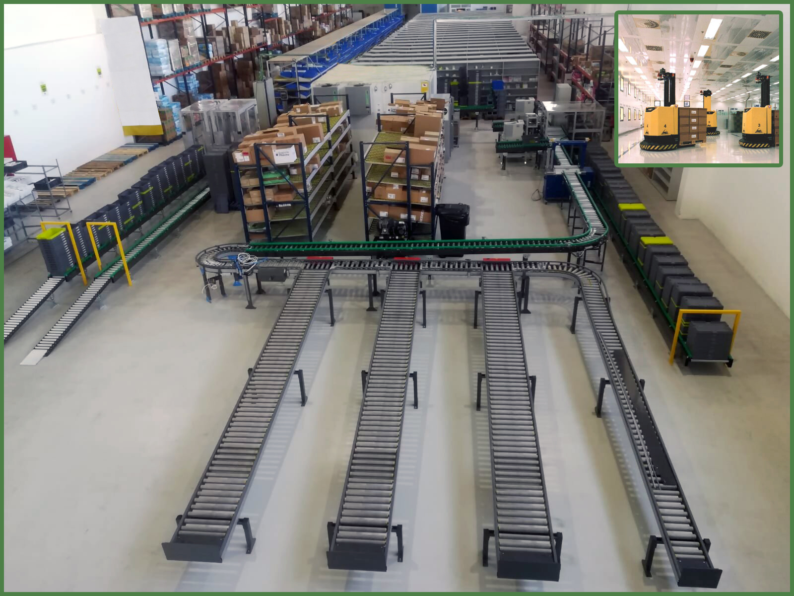 Conveyors and sorters in coexistence with AGV Robots